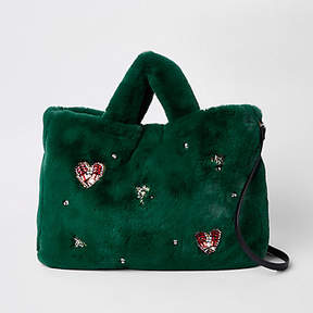 River Island Green faux fur jewel embellished shopper