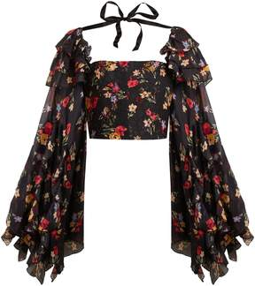 Rodarte Square-neck floral-print silk-blend blouse