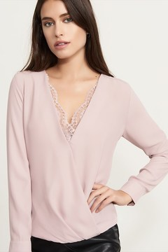 Dynamite Wrap Top With Lace