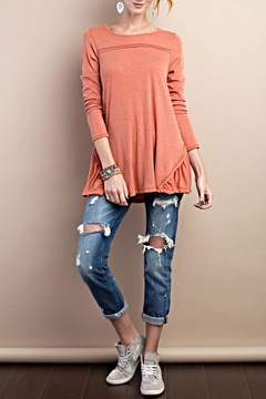 Easel Terracotta Ruffle Top