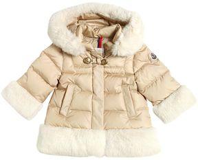 Moncler Annelet Nylon Down Jacket W/ Faux Fur