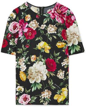 Dolce & Gabbana Floral-print Crepe Top - Black