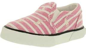 Polo Ralph Lauren Boy's Bal Harbour Repeat Canvas Pink Bengal Stripe/White Ankle-High Flat Shoe - 6.5M