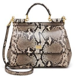 Dolce & Gabbana Sicily Python Top Handle Satchel - BEIGE-MULTI - STYLE