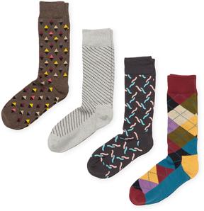 Happy Socks Men's Instarsia Cotton Socks (4 PK) - Size 10-13