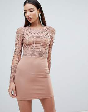 Forever Unique Mesh and Cut Out Mini Bodycon Dress