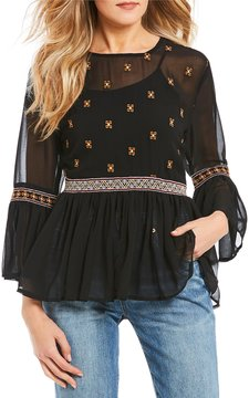 Chelsea & Violet Embroidered Bell Sleeve Top