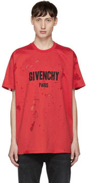Givenchy Red Distressed Logo T-Shirt