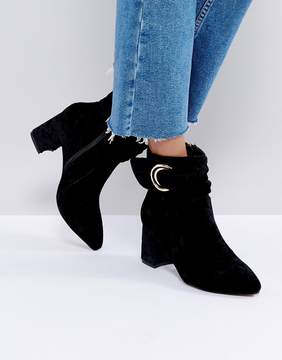 Glamorous Glamorus Black Velvet D-Ring Heeled Ankle Boots