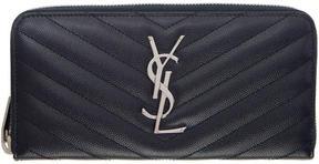 Saint Laurent Navy Quilted Monogram Zip Around Wallet