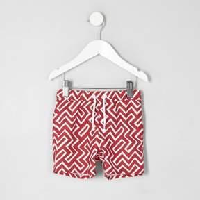 River Island Mini boys red geo print swim trunks