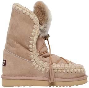 Mou 20mm Eskimo Rabbit Fur Lace Up Boots