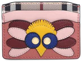 Burberry Beasts Motif Haymarket Check and Leather Card Case - Cinnamon Red - ONE COLOR - STYLE