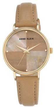 Anne Klein Goldtone Round Tan Dial Leather Strap Watch