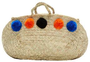 VALENCIA, Oblong Shopper Basket, Blue/Black/Orange Pompoms