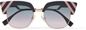 Fendi Cat-eye Acetate And Gold-tone Sunglasses - Dark gray