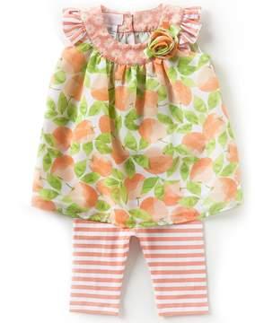 Bonnie Jean Bonnie Baby Baby Girls Newborn-24 Months Mixed-Media Shift Dress & Striped Capri Leggings Set