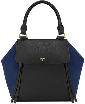 Tory Burch HALF-MOON MIXED-MATERIALS SATCHEL - BLACK / ROYAL NAVY - STYLE