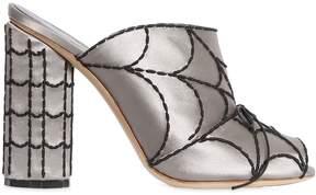 Marco De Vincenzo 100mm Spider Web Satin Sandals