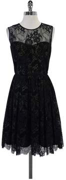 Erin Fetherston Erin Black Metallic Lace Sleeveless Flared Dress