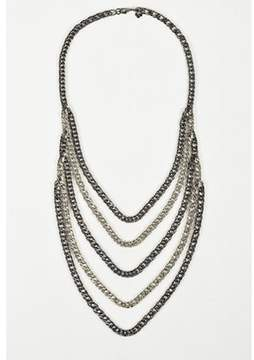 Ben-Amun Pre-owned Brass & Antique Silver Plating Chain Link Multi Strand Necklace.