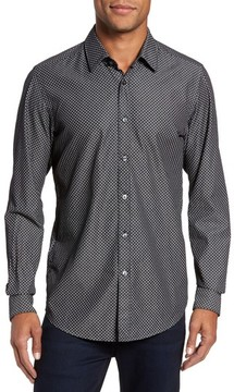 BOSS Men's Lukas Regular Fit Patterned Denim Sport Shirt