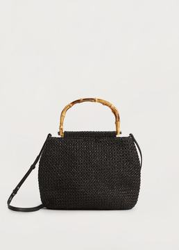 Violeta BY MANGO Bamboo handle bag