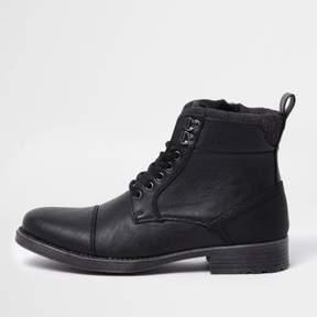 River Island Mens Black lace-up toe cap boots