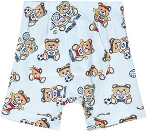 Moschino Pale Blue Bear Sport All Over Print Jersey Shorts