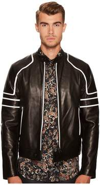 Just Cavalli Contrast Moto Leather Jacket Men's Clothing