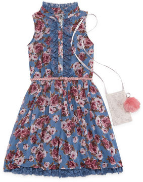 Knitworks Knit Works Floral Belted Sleeveless Shirt Dress w/ Purse - Girls' 7-16