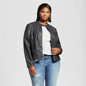Ava & Viv Women's Plus Faux Leather Jacket with Center Zip Black