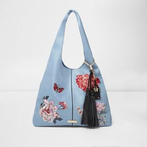 River Island Womens Blue floral embroidered oversized slouch bag