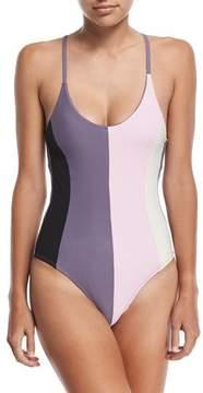 Pilyq Farrah Colorblock One-Piece Swimsuit, Amethyst