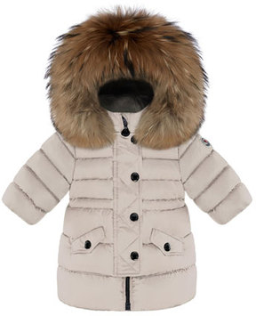 Moncler Essential Fitted-Waist Puffer Coat w/ Fur-Trim, Size 12M-3T