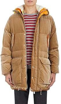 Sacai Men's Down-Quilted Velvet Oversized Coat