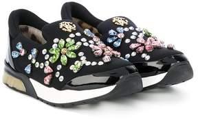 Roberto Cavalli teen appliqué slip-on sneakers
