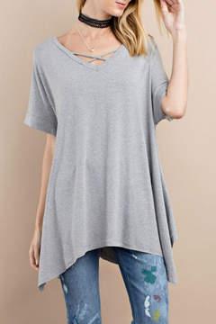 Easel Asymmetrical Hem Tunic Top