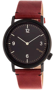Simplify Black & Maroon The 5500 Leather-Strap Watch