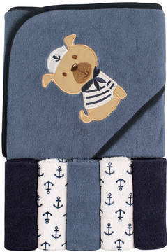 Luvable Friends Blue & White Anchor Sailor Dog Hooded Towel & Washcloth Set