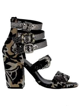 Elena Iachi Black/iron Leather/fabric Sandals