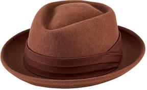 San Diego Hat Company Men's Wool Felt Pork Pie with Grosgrain Trim SDH9444