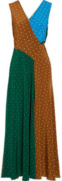 Diane von Furstenberg Cutout Polka-dot Silk Crepe De Chine Maxi Dress - Green