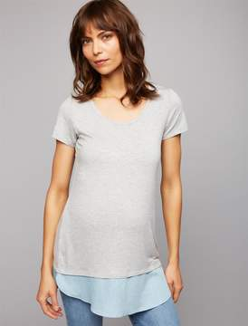 A Pea in the Pod Chambray Trim Maternity Tee
