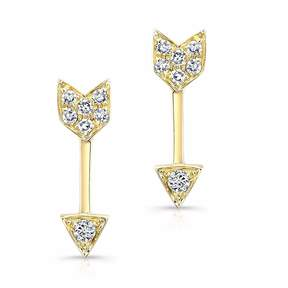 Anne Sisteron Yellow Gold Diamond Mini Arrow Stud Earrings