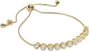 Betsey Johnson Blue by Chain Bracelet with Cubic Zirconia Stones and Adjustable Slider Bracelet
