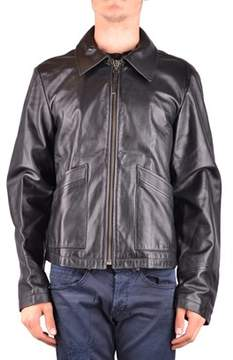 Armani Jeans Men's Mcbi024258o Black Leather Outerwear Jacket.