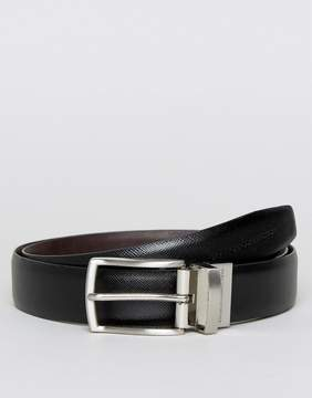 French Connection Reversible Saffiano Leather Belt