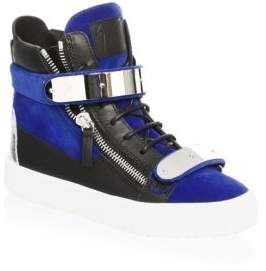 Giuseppe Zanotti Double Bar Suede Zip Hi-Top Sneakers