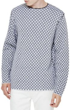 Ovadia & Sons Checker Merino Wool Sweater, Black/White